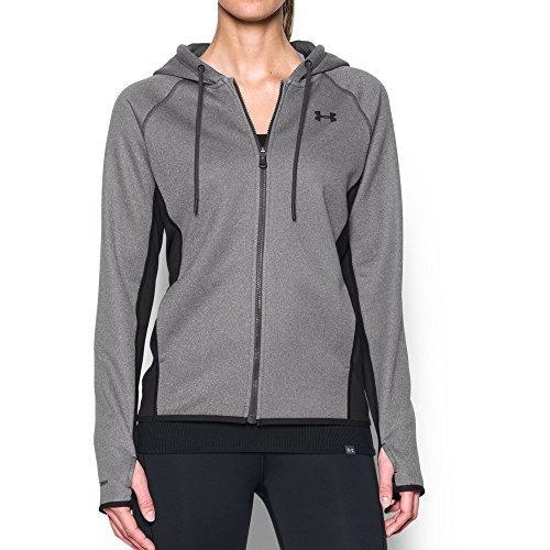 (Under Armour Women's Storm Armour Fleece Full Zip Hoodie,Carbon Heather (090)/Black, X-Small)