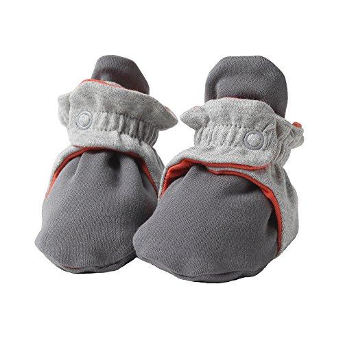 Zutano Unisex Baby Cotton Color Block Bootie , Gray/Heather Gray/Mandarin , 3M (0-3 Months) (Socks Zutano)