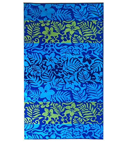 Espalma Over Sized Luxury Beach Towel, Large Size 70 Inch x 40 Inch Soft Velour and Reversible Absorbent Cotton Terry, Thick and Plush Jacquard Beach Towel, Blue Luau Floral ()