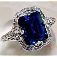 Siam panva Huge Natural 3.5Ct Tanzanite 925 Silver Ring Women Wedding Engagement Size 6-10 (7)