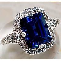 Siam panva Huge Natural 3.5Ct Tanzanite 925 Silver Ring Women Wedding Engagement Size 6-10 (8)