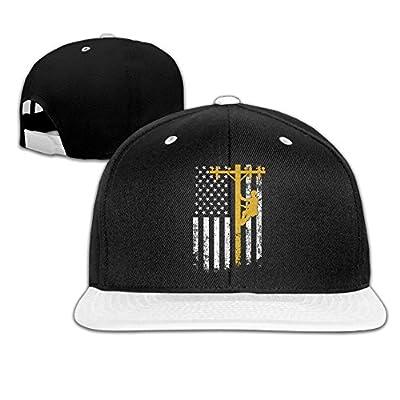 Rock Punk Trucker Hats National Flag Lineman Lineworker Unisex Baseball Caps Hip-hop Snapback White