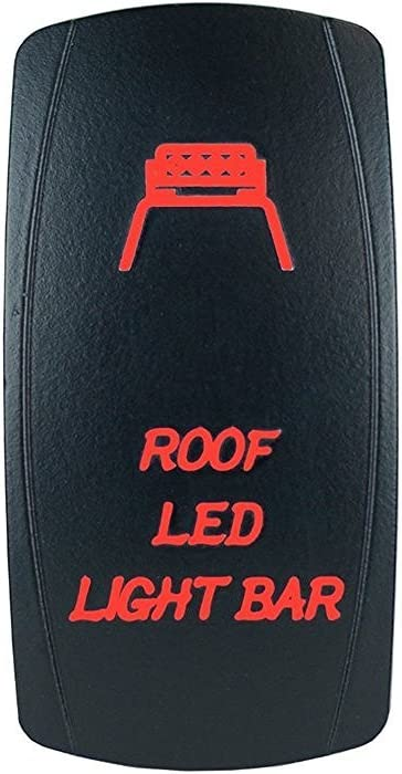 QUNQI STAR 5 pin Laser Backlit Rocker Switch ROOF LED LIGHT BAR 20A 12V On/off LED Light Toggle Switch (Red)