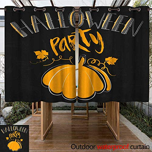 Outdoor Balcony Privacy Curtain Halloween Party Simple Card with Orange Pumpkin and Lettering by Hand Quote on Black Grunge Background W55 x L72