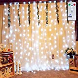 Curtain String Lights,Window Icicle Starry Fairy Lights for Christmas Wedding Party Backdrops Home Outdoor Decorative Lights Ollny 306 LEDs 3m x 3m (White Low Voltage)