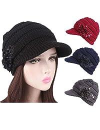 Staron Women's Hats Ladies Winter Warm Knit Hat Berets Turban Brim Fashion Pile Cap