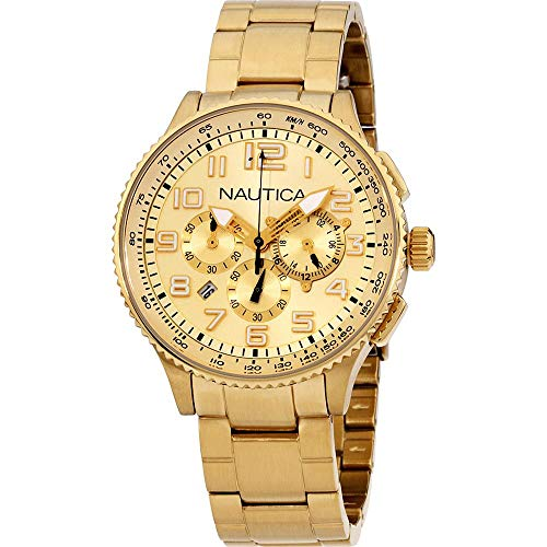 Nautica Gold Dial Stainless Steel Unisex Watch A26533M
