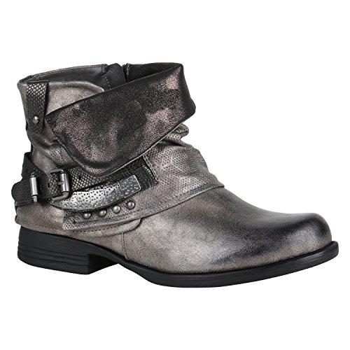 Blockabsatz Stiefeletten Stiefelparadies Nieten Damen Boots mit Grau Biker Schnallen Metallic Flandell wXqU5xqf