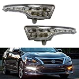 Nissan Altima Accessory Lighting - iJDMTOY LED Daytime Running Lights Assembly For 2013-2015 Nissan Altima Sedan, Exact Fit High Power Assy Powered By (10) Xenon White LED as DRL & (10) Amber Yellow LED as Turn Signals
