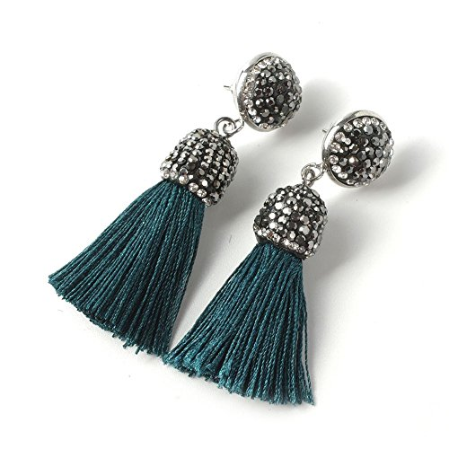 Pearl Thread Earrings - Xiaocao8 Women's Dangle Drop Short Tassel Earrings with Shell Pearl Black Rhinestone Top