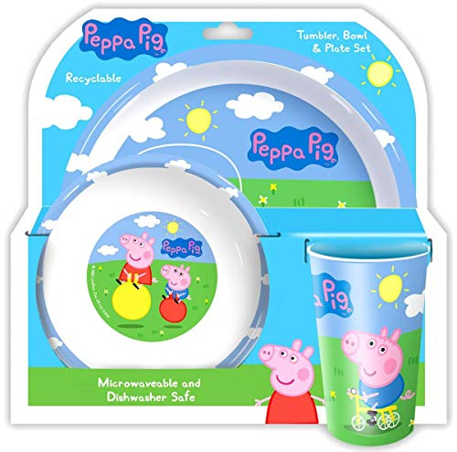 Holland Plastics Original Brand Official Peppa Pig 3 Piece Dining Set!! Complete with Plate, Bowl & Tumber/Beaker. -