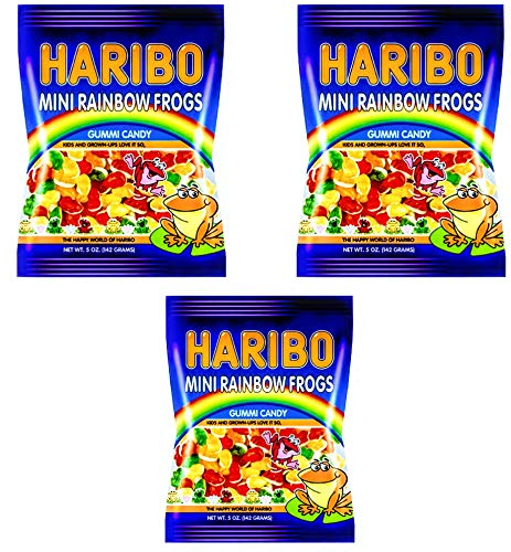 - Haribo Mini Rainbow Frogs 5 oz Bag (3 Pack)