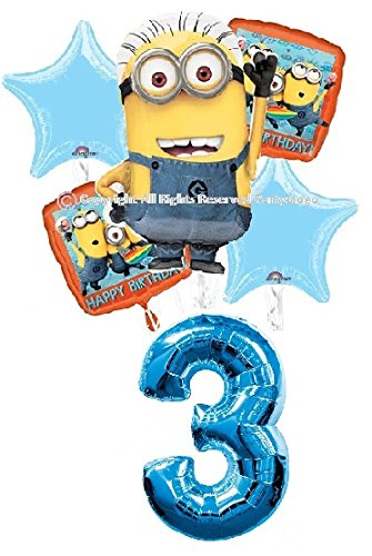 DESPICABLE ME MINIONS 3RD BIRTHDAY BALLOONS BIRTHDAY PARTY BALLOONS BOUQUET DECORATIONS SUPPLIES BLUE NUMBER 3 -
