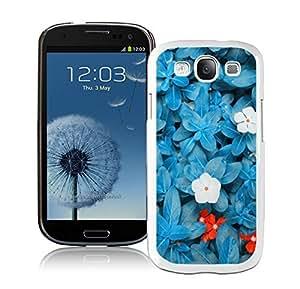BINGO Cheap no minimum Beautiful Blue Flower Samsung Galaxy S3 i9300 Case White Cover