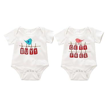 f58cb96643e43 Amazon.com: SIZZLE Buy one get one free Twin funny onesie Romper ...