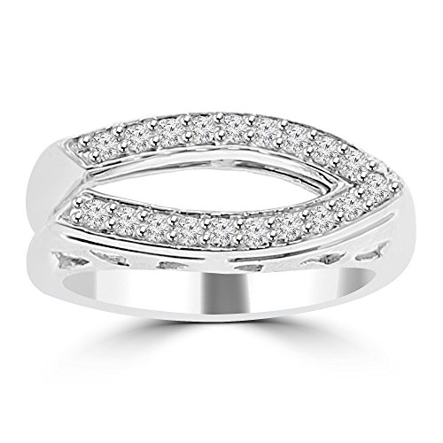 0.28 ct Ladies Round Cut Diamond Anniversary Wedding Band Ring (Color G Clarity SI-1) in 18 kt White Gold In Size 5 by Madina Jewelry
