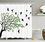 Flying Birds Decor Shower Curtain Set By Ambesonne, Spring Tree With Silhouette Of Flyind Birds Wind Liberty Peace Design Living, Bathroom Accessories, 75 Inches Long, Green Black White