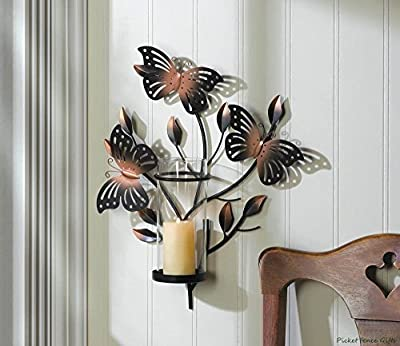 Bouncy Butterfly Wall Sconce Metal Art Candleholder