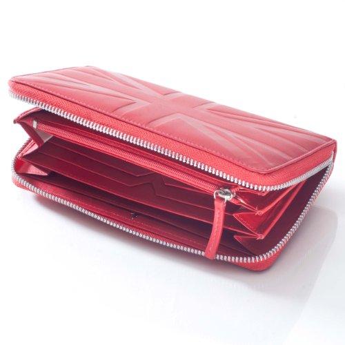 David Hampton Luxus Leder, mit Rundum-Reißverschluss Rot