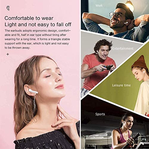 Wireless Earbuds,5.0 Bluetoot Headphones Stereo Bass Sound TWS Earphones 10 Hours Playtime Wireless Earphones with Mic & Charging Case for Running/Working Out,for Samsung Apple AirPods Earbuds