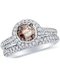 14K White Gold Round Cut Chocolate Brown and White Diamond Bridal Engagement Ring and Matching Wedding Band Two 2 Ring Set - Halo Prong Set Center with Channel Set Side Stones - Classic Traditional Solitaire Shape Center Setting - (1.23 cttw. - .40 CT. Center Stone)
