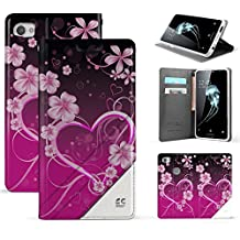 Trishield Gear Alcatel Idol 5, Nitro 5 Case, [Infolio] Slim Synthetic Leather Invisible Magnetic Closure Flip Wallet Cover For Alcatel 6060C With Kickstand Feature Card Slot Pink Rosy Heart