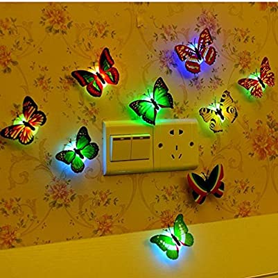 Cute Children Colorful Butterfly LED Night Light Home Party Bedroom Sticker Bug