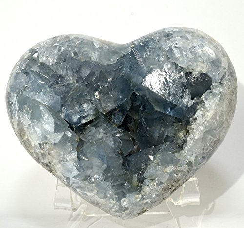 Large 4.1'' 1.6lb Celestite Druzy Heart Rich Blue Natural Sparkling Crystal Geode Celestine Mineral Stone - Madagascar + Acrylic Display Stand by HQRP-Crystal