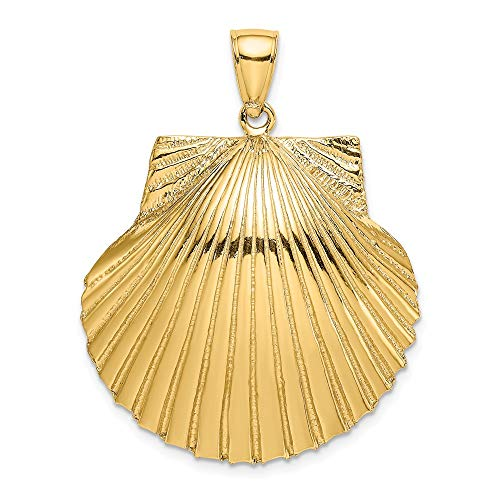 (FB Jewels 14K Yellow Gold 3D Scallop Shell High Polish and Textured Pendant)