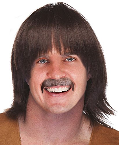 Sonny And Cher Costumes For Adults (Sonny Bono Costume Sonny Bono Wig and Mustache Set Mens Hippie Wig Sony Bono Wig)
