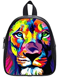 Best-selling Animals Lion Face Art Theme Black or White Kids School Bag (Small) Backpack/ This school bag is...