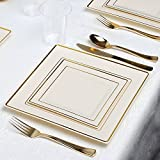 Kaya Collection - Square Bone and Gold Disposable Plastic Dinnerware Party Package - 20 Person Package - Includes Dinner Plates, Salad/Dessert Plates, Gold Cutlery and Tumblers