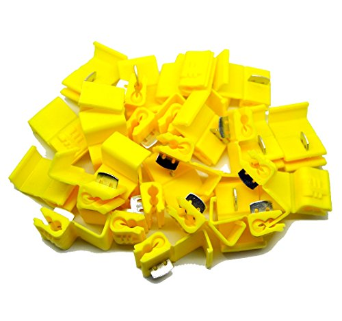 (MUYI 100 Pcs Yellow Electrical IDC 4.0-6.0mm² Wire Connector Double Run or Tap 12-10 AWG 0.75x1.26inches. (WxL) 24A Max. Current Flame Retardant Low Voltage One Pack (Yellow))