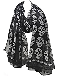Unisex Cool Skull Print Chiffon Scarf Ornamental Beach Shawl Cozy Black Scarves