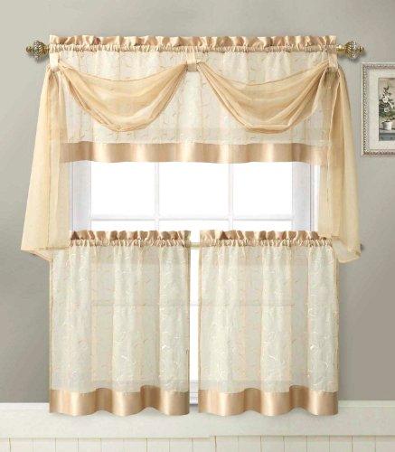Linen Leaf 4 Piece Kitchen Curtain Set By Victoria Classics (Gold)