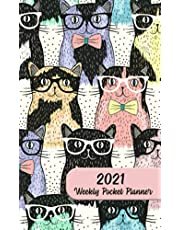 2021 Weekly Pocket Planner: Monthly Pocket Calendar with Weekly Daily Scheduling - Small Purse & Pocket Size - Hipster Cat Design - 4 x 6.5 inches