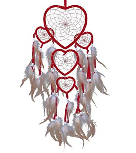 1 Set Red Heart Feathers Dream Catcher