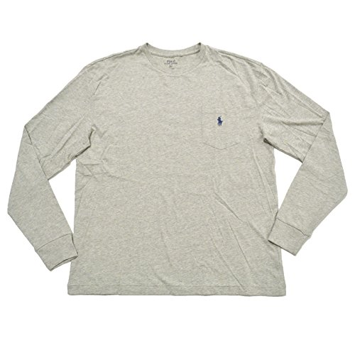 Polo Ralph Lauren Mens Pocket T-shirt Classic Fit Crew Neck Long Sleeve (XL, Nw Grey (Ribbed Crewneck Logo Top)