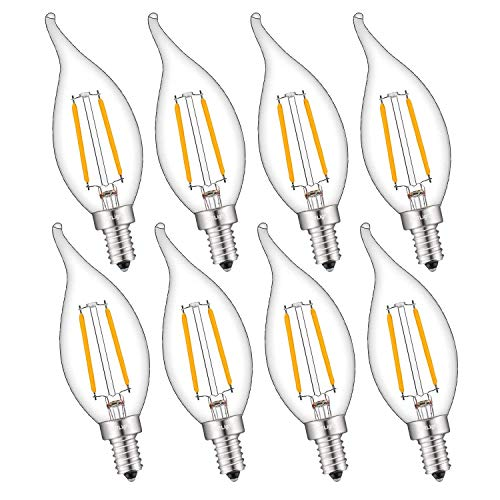 CRLight 2W 250LM Dimmable LED Candelabra Bulb 2500K Warm White, 25W Equivalent E12 Base LED Candle Bulbs, CA11 Clear Glass Mini Flame Shape, 360 Degrees Beam Angle, 8 Pack