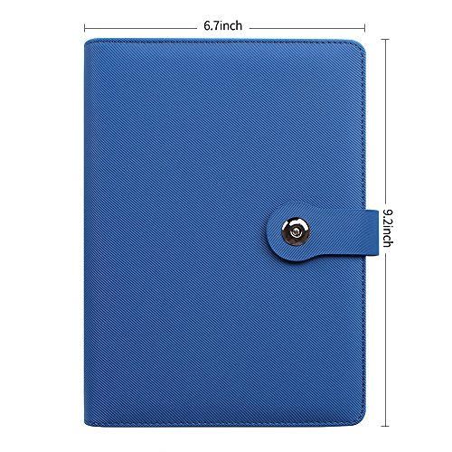 CYOS leather writing notebook, cover with written business card bag, travel diary covered with magnetic buckle, round ring 6 holes loose sheet A5 inner core, blue by CYOS