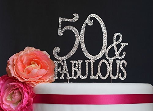 Price comparison product image 50th Gold Anniversary or Birthday Rhinestone Cake Topper (50&Fab Silver)