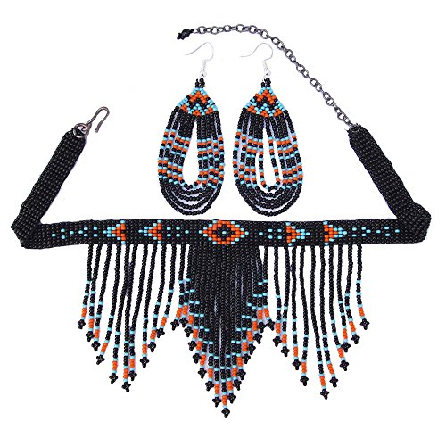 La vivia Handmade Fashion Jewelry Handcrafted Beaded Black Necklace Hook Earring Set S54/1