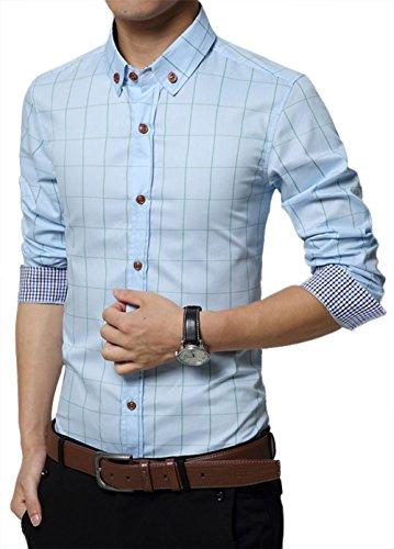 Slim Fit Coton S Taille Casual Manche À Homme Mince Carreaux Chemise 3xl Bleu Kuson Claire Longue 8q0gBxR