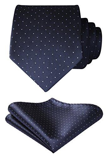 HISDERN Men's Polka Dot Tie Handkerchief Wedding Party Necktie & Pocket Square Set Slate Gray