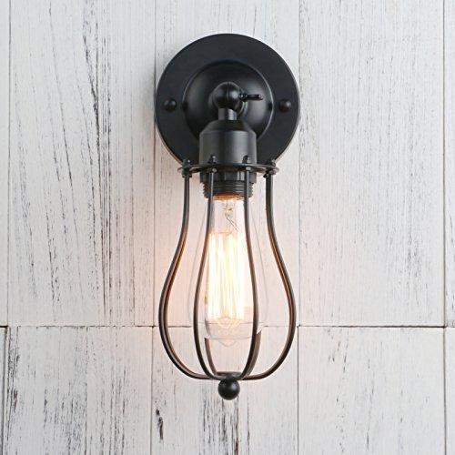 permo industrial vintage metal wire cage wall sconce lighting rh amazon com Interior Wall Mounted Lights installing outdoor wall mounted light