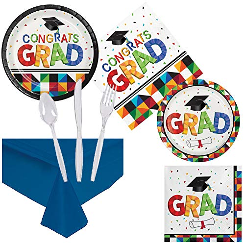 Graduation Party Pack Supplies Set Serves 16 Children Adults Luncheon Dessert Paper Plates, Napkins, Cutlery, Table Cover - Disposable Party Supplies for Food Appetizers Cake Home School Work Parties