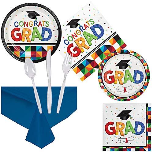 Graduation Paper Products - Graduation Party Pack Supplies Set Serves
