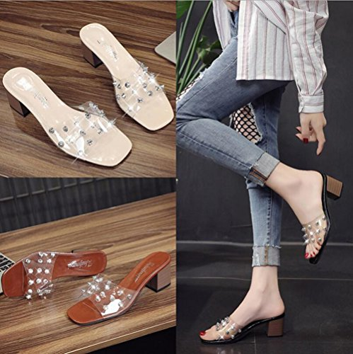 Summer Shoes amp; Heel for Rivets Transparent Evening Sandals PVC Party Sandals Club Chunky Dress C Women's WSqCEnpxx