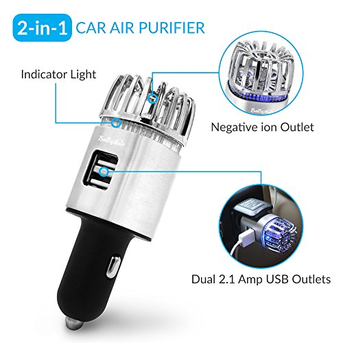 Car Air Purifier, Ionizer Deodorizer and Ionic Air Freshener with Dual USB Charger| Remove Dust, Pollen, Smoke, Food & Pet Smell, Bacteria and Bad Odors | Portable Travel Charger for Automobiles ()