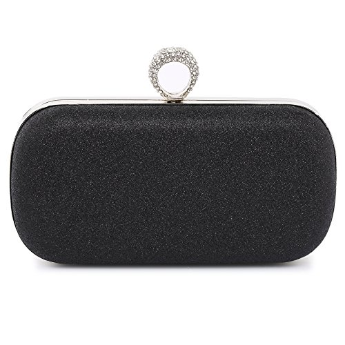 Womens Evening Clutch Purses Beaded Sequin Party Wedding Bags Black B69